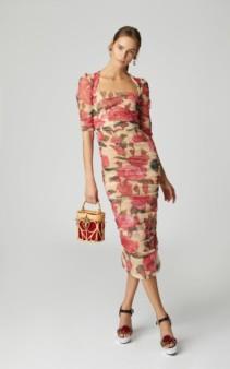 DOLCE & GABBANA Rose Tulle Midi Pink Dress