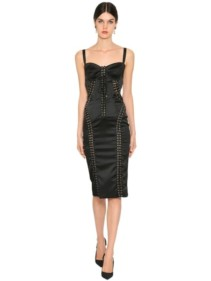 DOLCE & GABBANA Stretch Satin Midi Corset Black Dress