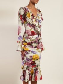 DOLCE & GABBANA Rose And Hortensia-Print Crepe Midi Dress
