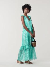 DREA Ruffled Silk Maxi Jade Green Dress