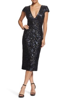 DRESS THE POPULATION Allison Sequin Brocade Plunging V-neck Cocktail Sheath Black / Navy Dress