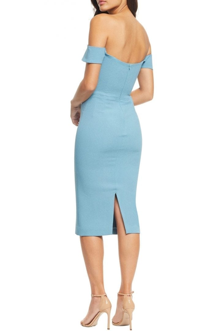DRESS THE POPULATION Bailey Off the Shoulder Body-Con Blue Dress