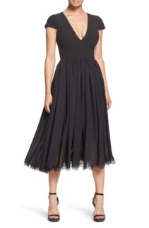 DRESS THE POPULATION Corey Chiffon Fit & Flare Black Dress
