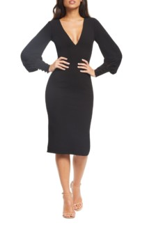 DRESS THE POPULATION Norah Plunge Body-Con Black Dress