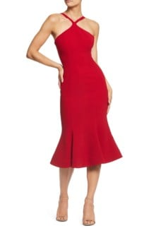 DRESS THE POPULATION Tessa Crepe Mermaid Red Dress