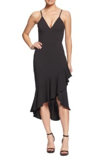 DRESS THE POPULATION Wendy High Low Ruffle Cocktail Black Dress