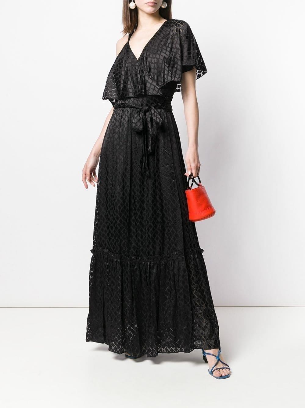 DVF DIANE VON FURSTENBERG Asymmetric Sleeve Black Gown