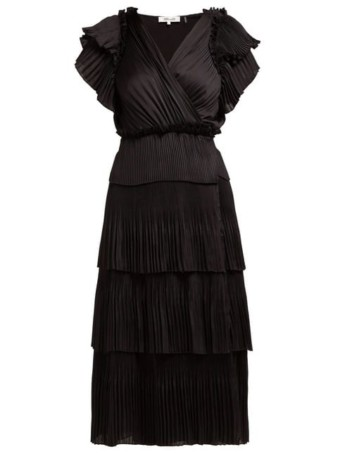 DIANE VON FURSTENBERG Sasha Pleated Tiered Wrap Midi Black Dress