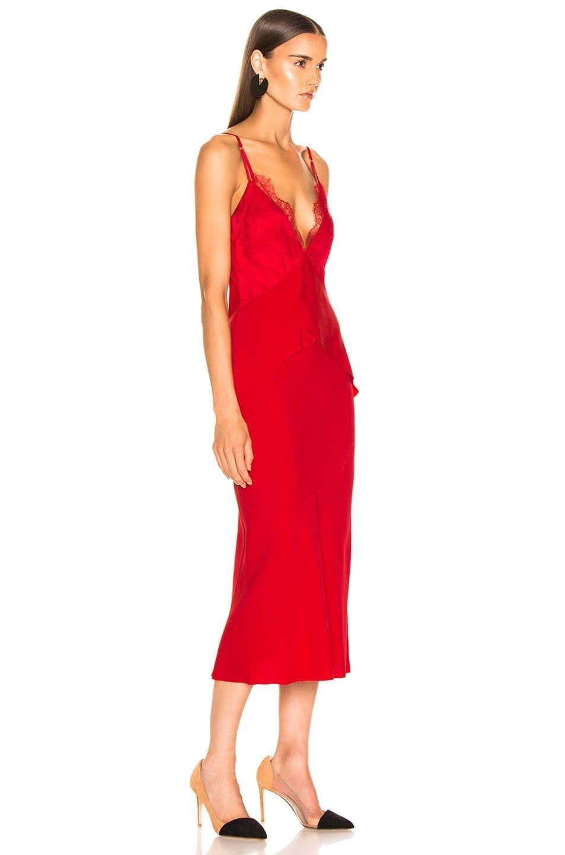 DION LEE Stencil Lace Bias Red Dress