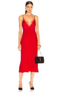 DION LEE Stencil Lace Bias Red Dress
