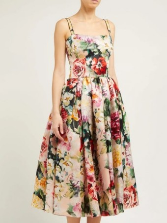 DOLCE & GABBANA Floral-Print Silk-Organza Pink Dress