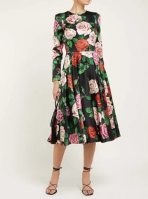 DOLCE & GABBANA Rose-Print Silk-Blend Charmeuse Midi Black Dress