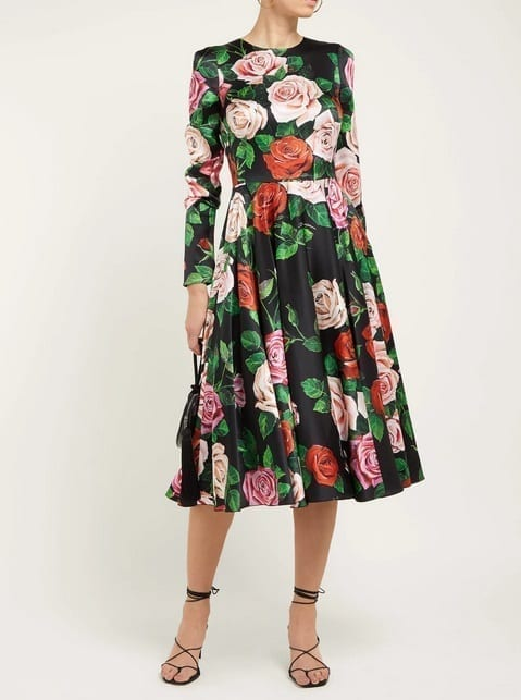 DOLCE & GABBANA Rose-Print Silk-Blend Charmeuse Midi Black Dress