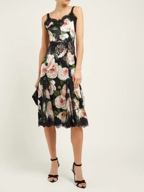 DOLCE & GABBANA Rose-Print Silk-Blend Satin Black Dress