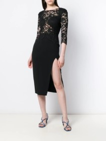 ELISABETTA FRANCHI Lace Panel Midi Skirt Black Dress