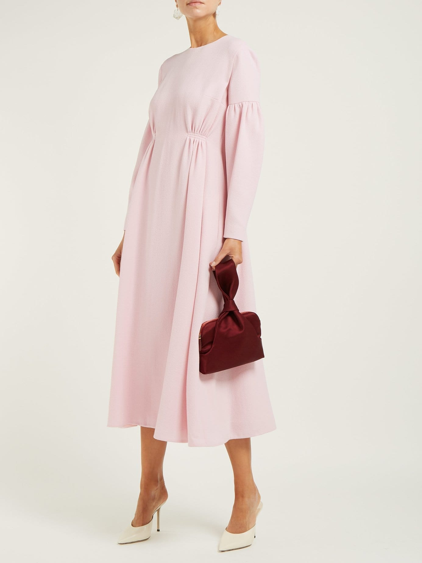EMILIA WICKSTEAD Cecil Shirred Wool-crepe Midi Pink Dress