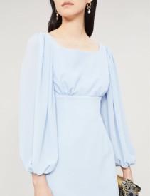 EMILIA WICKSTEAD Magita Balloon-Sleeve Crepe Midi Sky Blue Dress