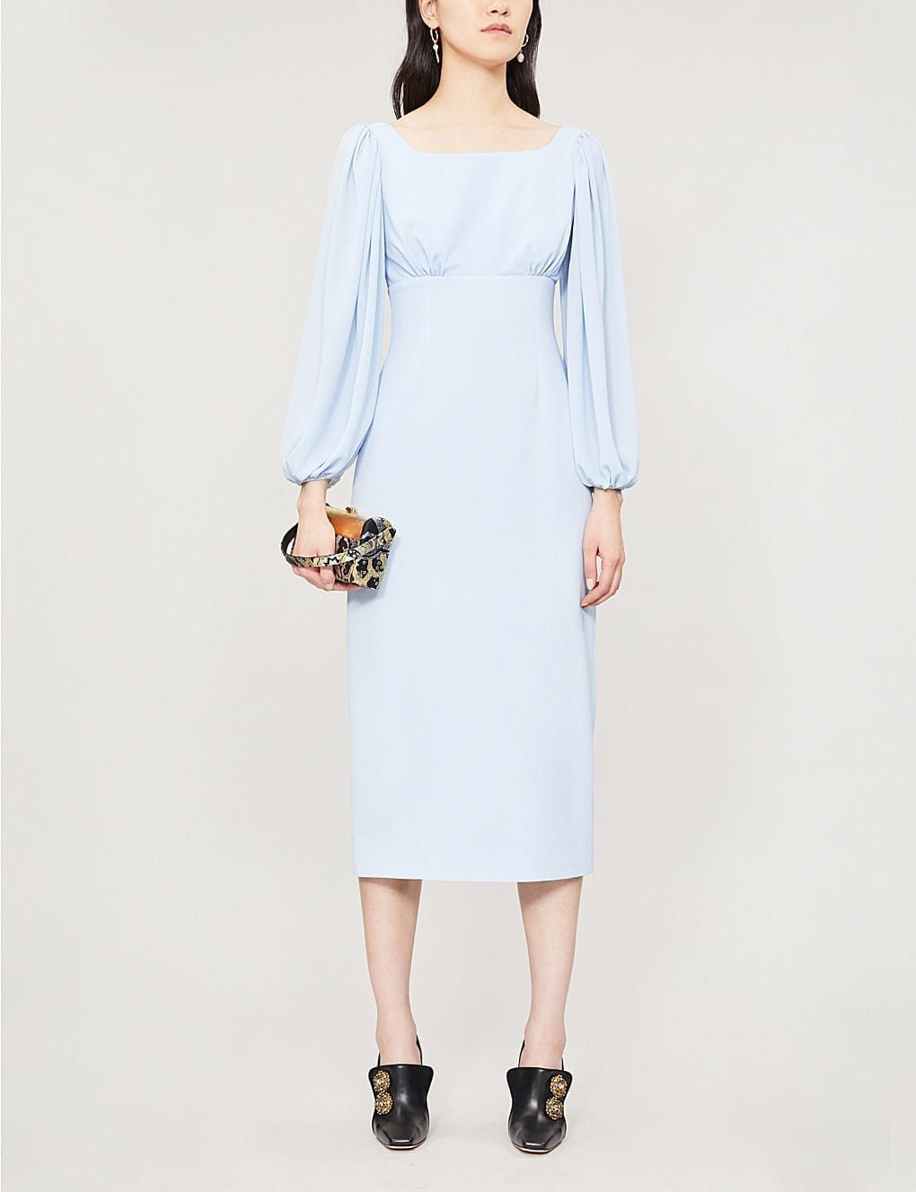 EMILIA WICKSTEAD Magita Balloon-Sleeve Crepe Midi Sky Blue Dress