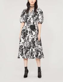 ERDEM Cressilda floral-Print Cotton and Silk-Blend Midi White Black Dress