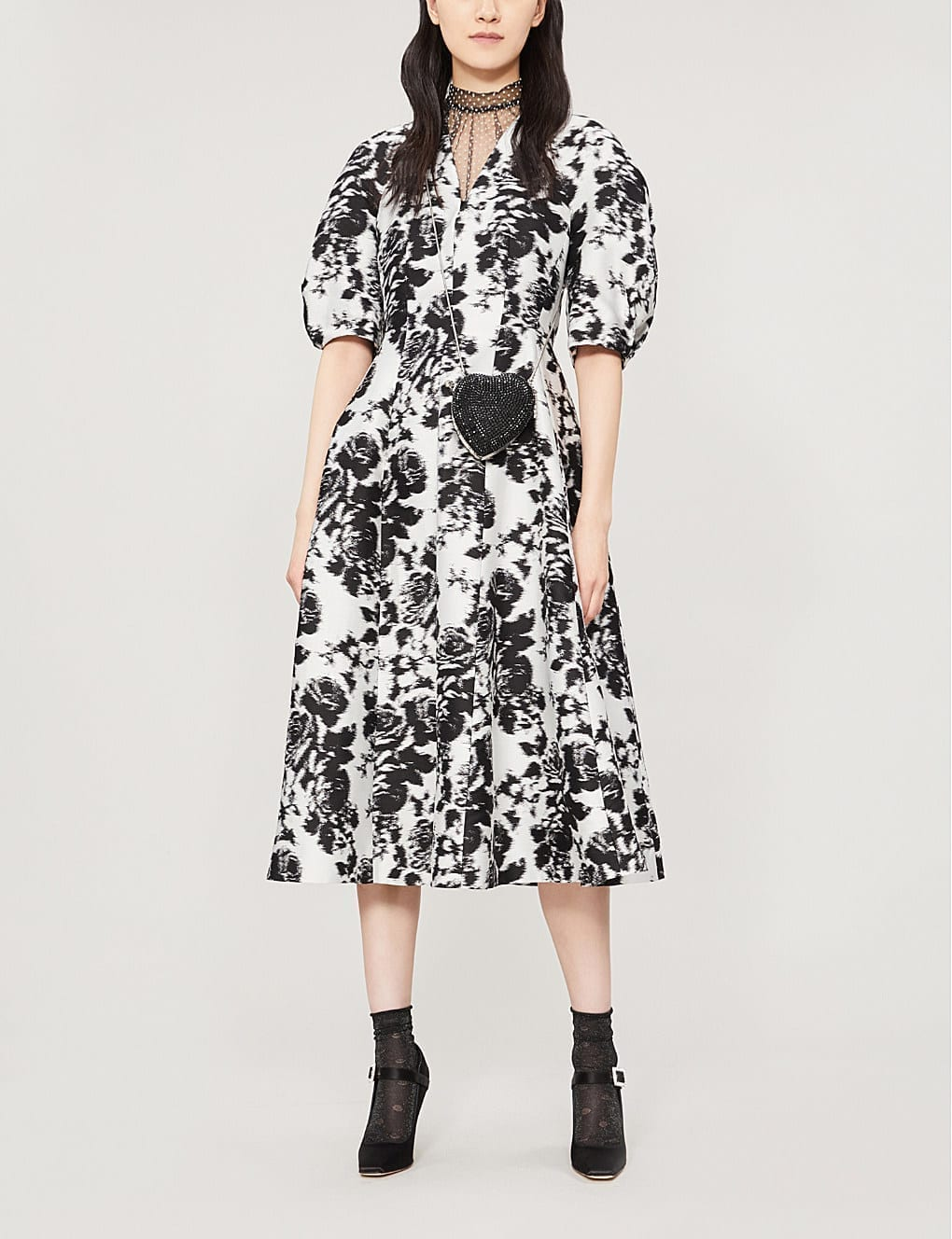 8b8b45cb34af ERDEM Cressilda floral-Print Cotton and Silk-Blend Midi White Black Dress