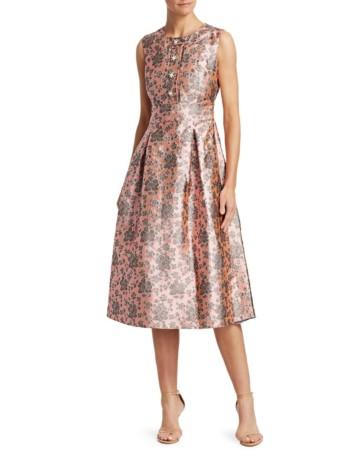 ERDEM Davinia Metallic Floral Fit-And-Flare Pink Dress