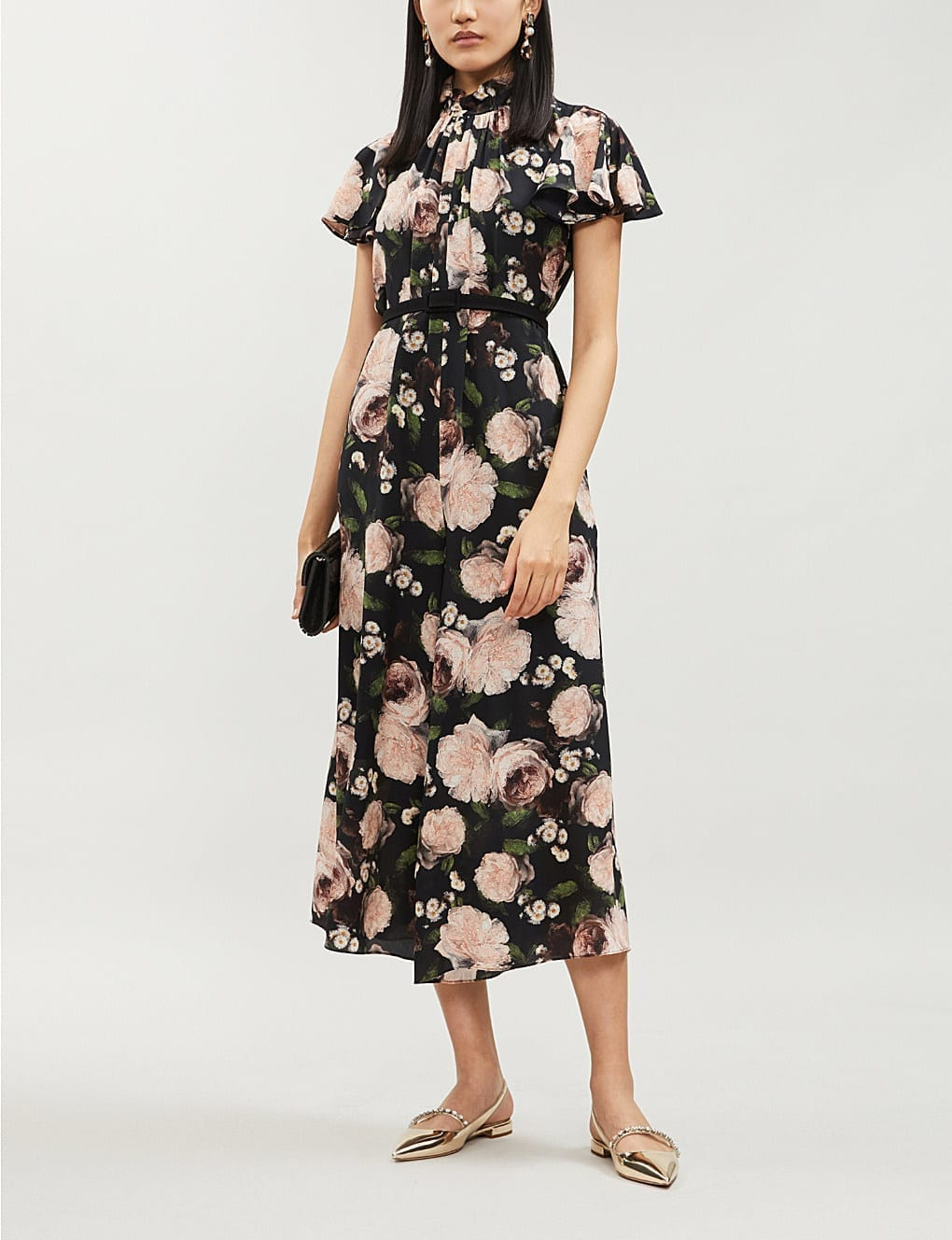 ERDEM Ella May Floral-Print Silk-Chiffon Midi Black/Pink Dress