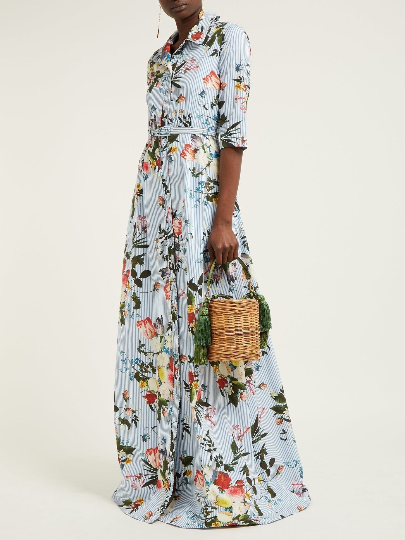 ERDEM Karissa Striped Cotton Shirt Blue / Floral Printed Dress