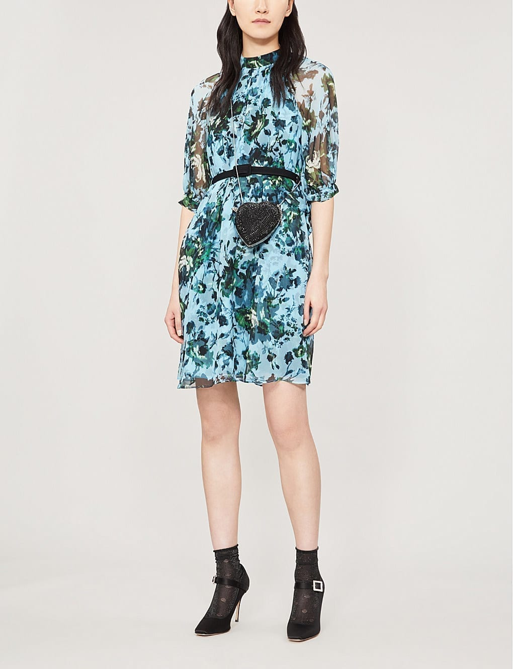 ERDEM Melodie High-Neck Floral-Print Silk-Chiffon Blue Green Dress