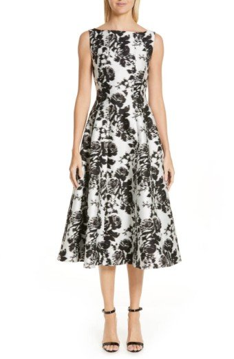 ERDEM Rose Jacquard A-Line White Dress