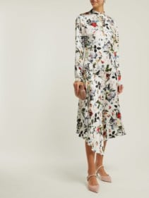 ERDEM Sinclair Edith-print Asymmetric Silk White Dress