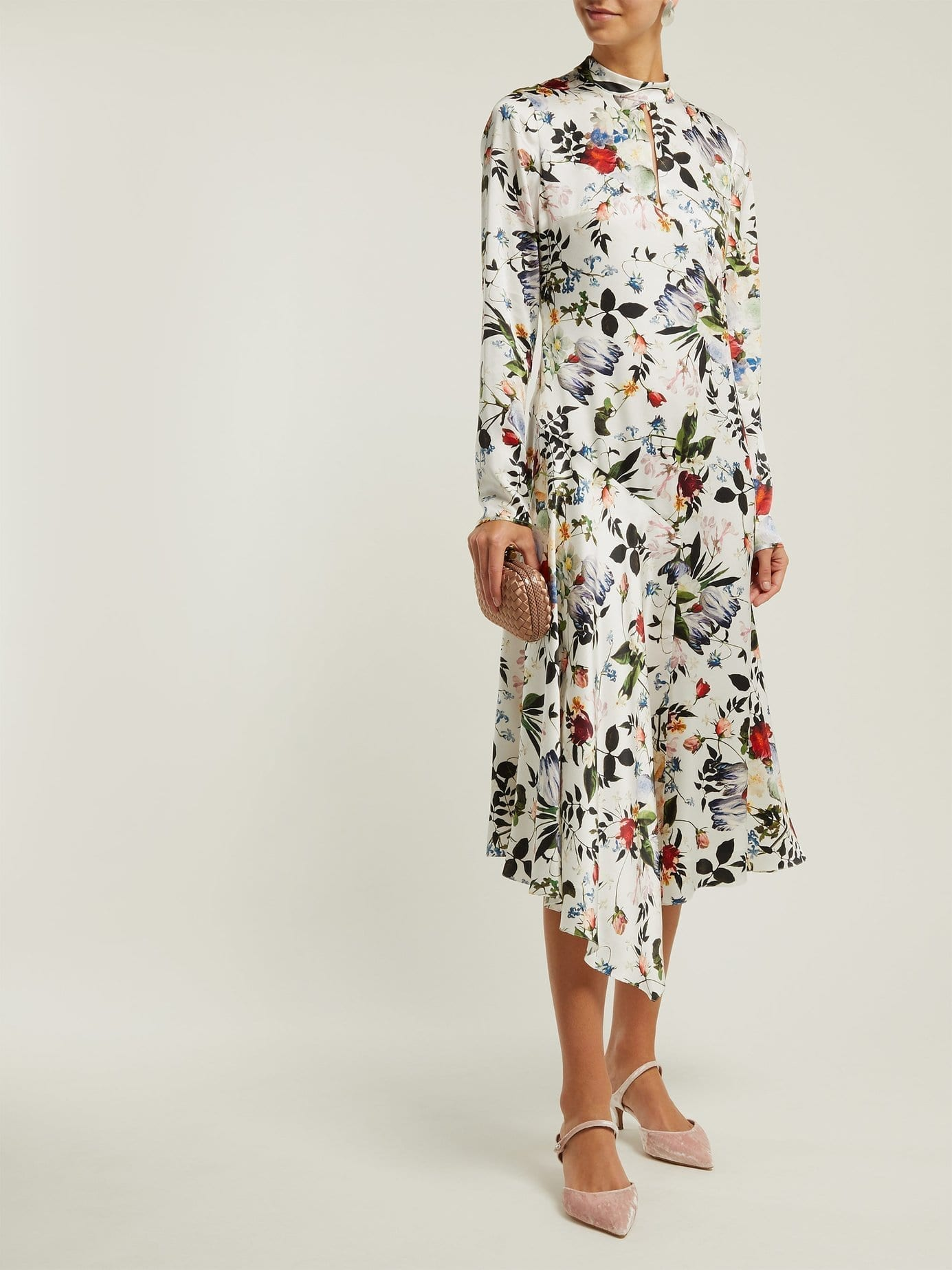 ERDEM Sinclair Edith-print Asymmetric Silk White Dress
