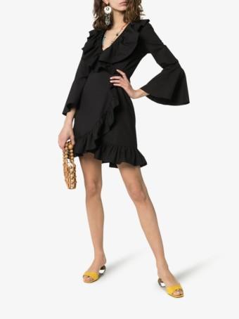 ETRO Ruffle Detail Cotton Wrap Black Dress