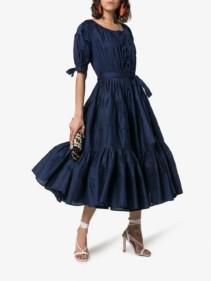EVI GRINTELA Franca Puff Sleeve Tiered Navy Dress
