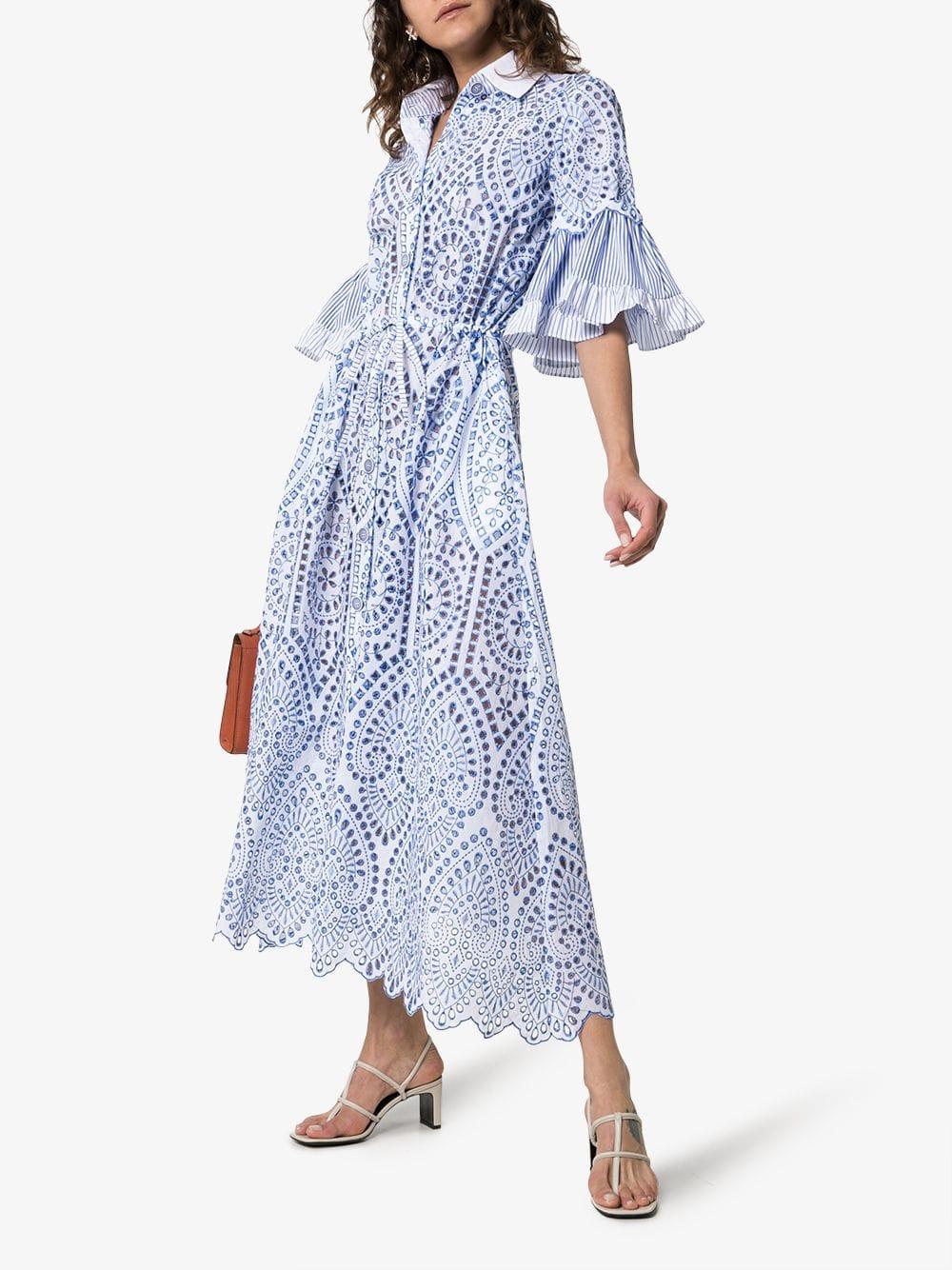 61804d04c67 EVI GRINTELA Valerie Lace Detail Collared Midi White Dress