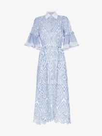 EVI GRINTELA Valerie Lace Detail Collared Midi White Dress