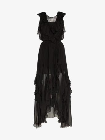 FAITH CONNEXION Ruffle Detail Silk Wrap Black Dress