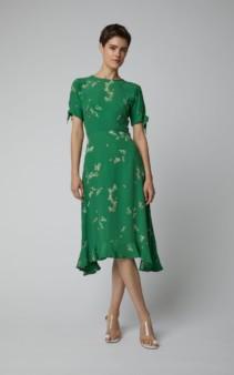 FAITHFULL THE BRAND Emilia Crepe De Chine Midi Green Dress