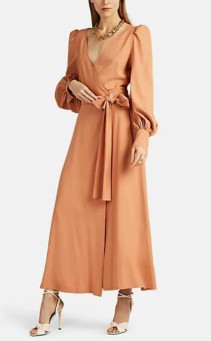 FRANCOISE Crepe Wrap Pink Dress
