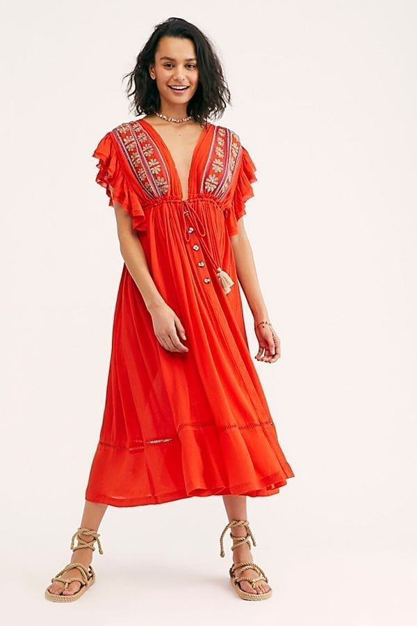 FREE PEOPLE Bali Will Wait For You Midi Red Dress