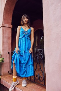 FREE PEOPLE Belong To You Tiered Maxi Blue Dress