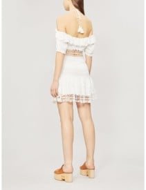 FREE PEOPLE Cruel Intention Cold-Shoulder Lace-Panelled Mini Ivory Dress