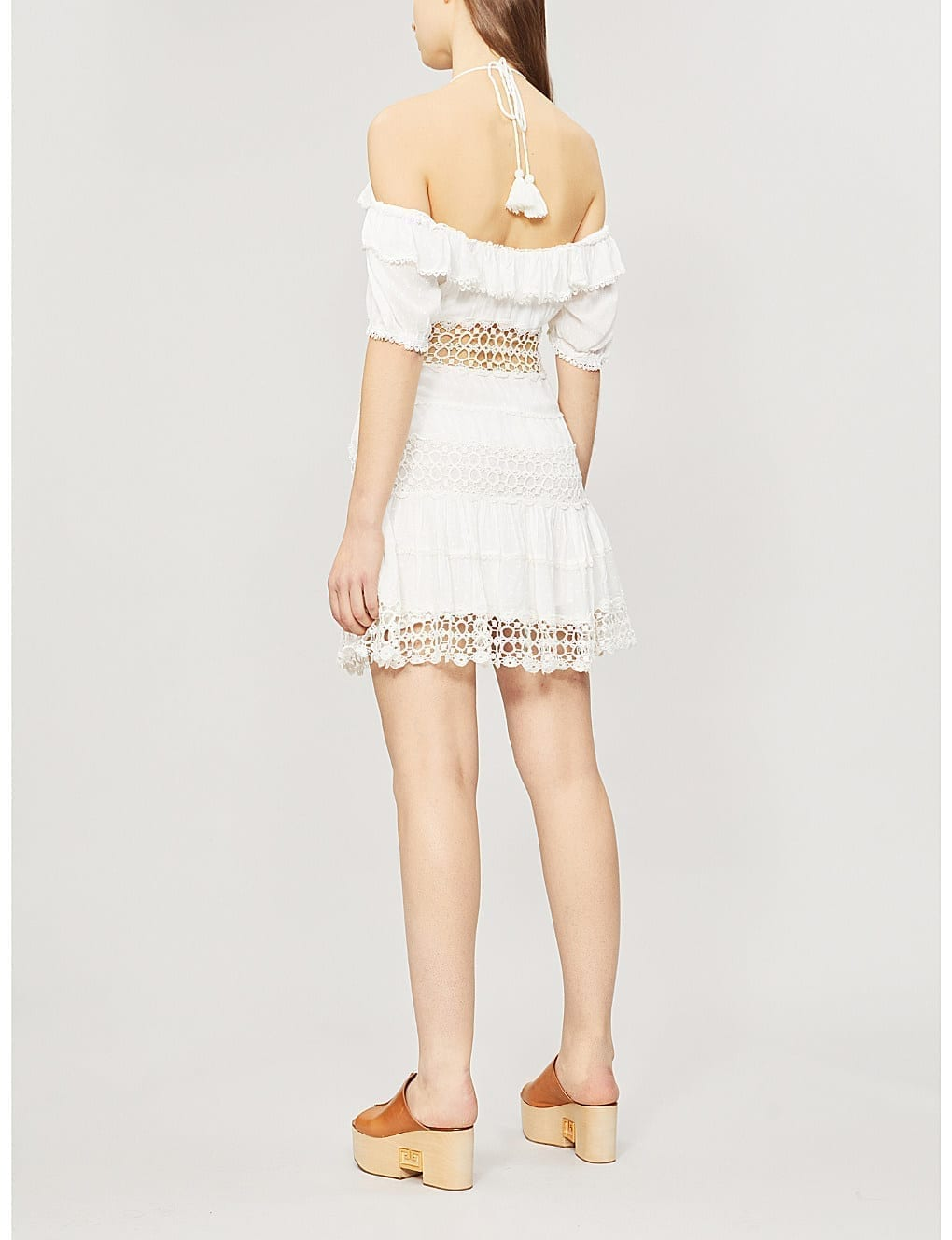 6d9ddc94e63 FREE PEOPLE Cruel Intention Cold-Shoulder Lace-Panelled Mini Ivory Dress