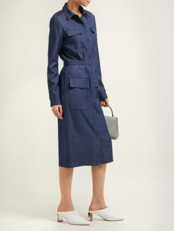 GABRIELA HEARST Military Denim Shirt Blue Dress