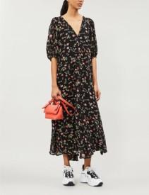GANNI Elm Floral-Print Georgette Tunic Black Dress