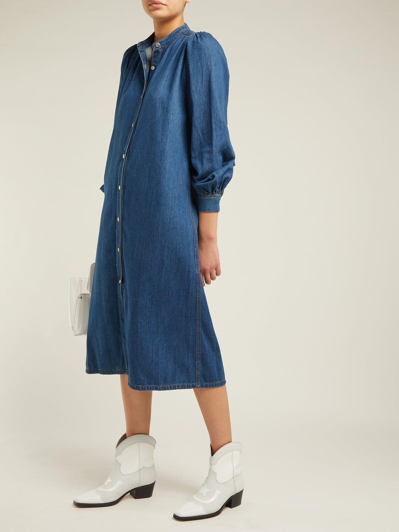 GANNI Kress Long-sleeved Cotton Shirt Blue Dress
