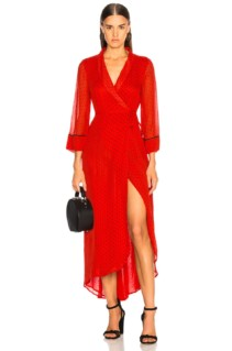 GANNI Printed Georgette Red Dress