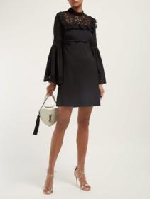 GIAMBATTISTA VALLI Bell-sleeved Guipure Lace Black Dress