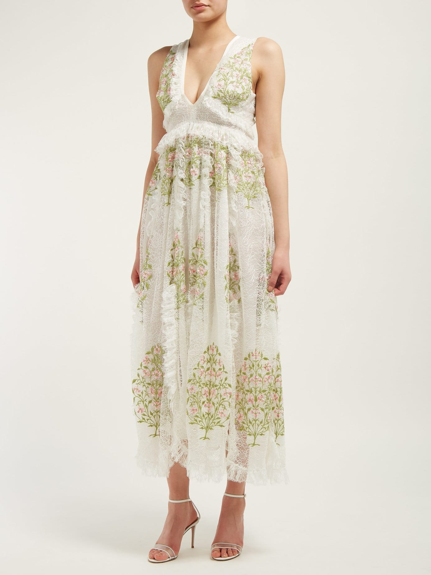 GIAMBATTISTA VALLI Floral-embroidered Lace Ivory Gown