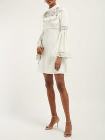 GIAMBATTISTA VALLI Lace-panel Crepe Ivory Dress