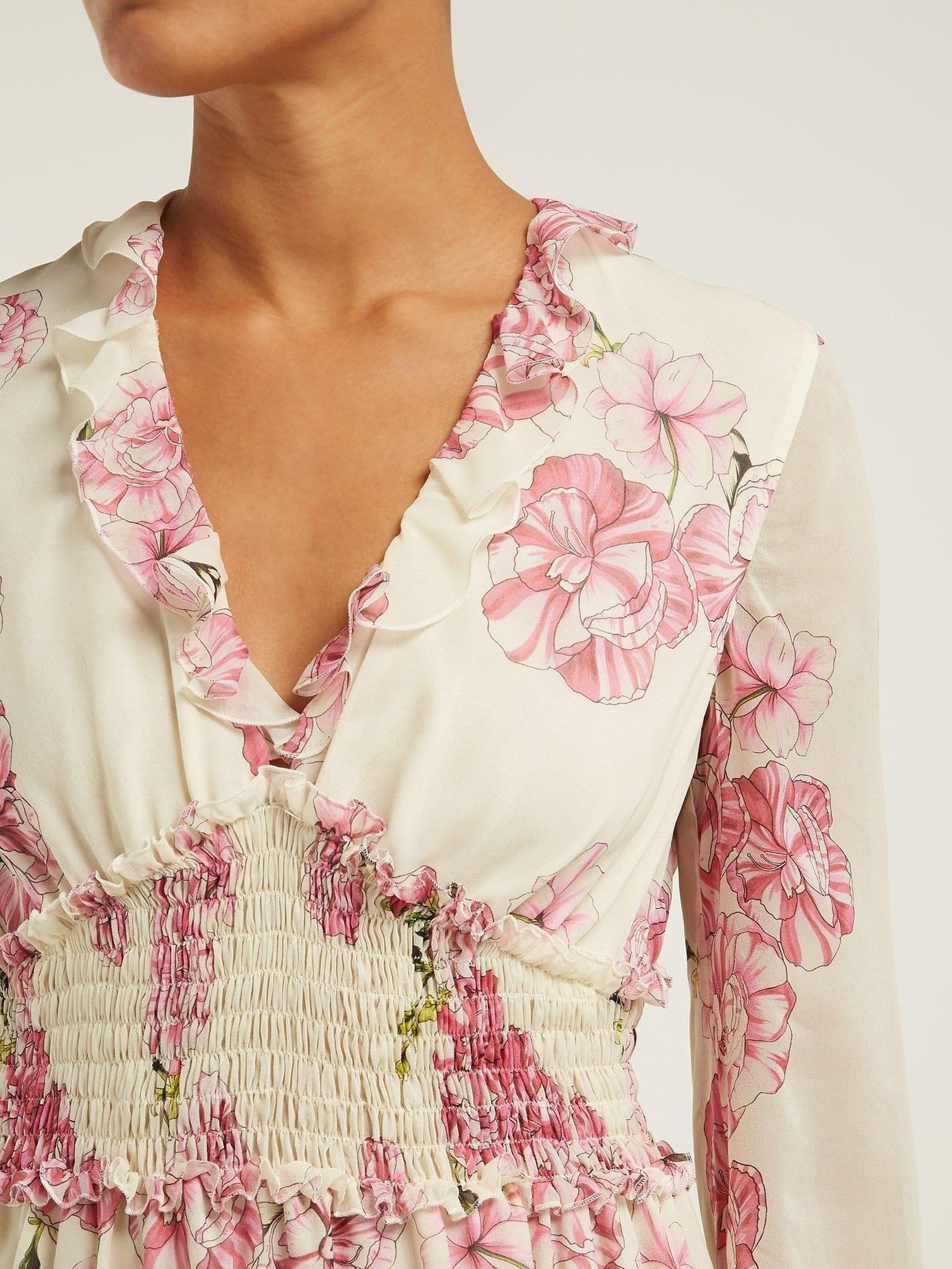 12fa5726556bb GIAMBATTISTA VALLI Peony-print Silk-chiffon Midi Ivory Dress - We ...
